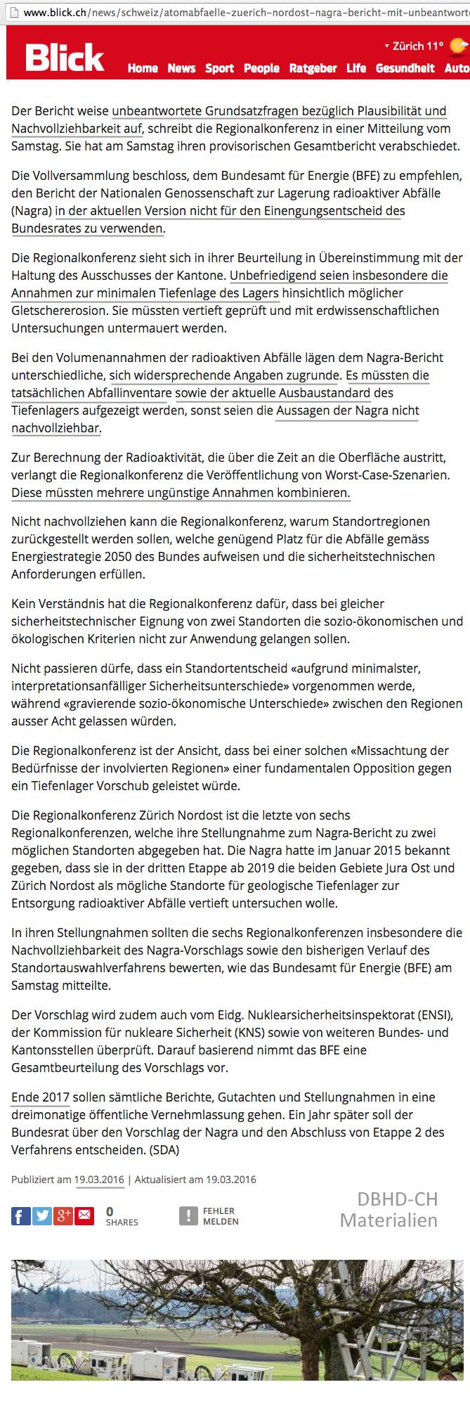 Blick Artikel nagra scheitert mit Zürich NordOst Endlager Vorschlag an der vernichtenden Kritik der Regional Konferenz